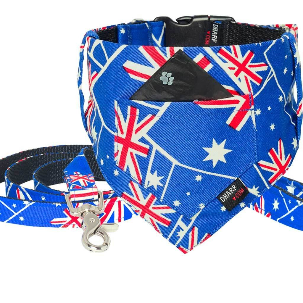 Dharf dog Bandana, Collar and Leash in Australian flag print