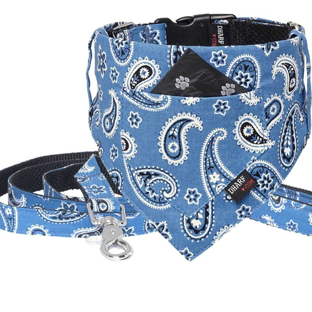 Dharf Dog Bandana, Collar and Leash Set in Blue Paisley