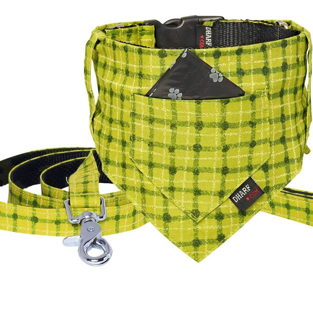 Dog Bandana, Collar and Leash Set - GREEN SQUARES - Dharf - 1