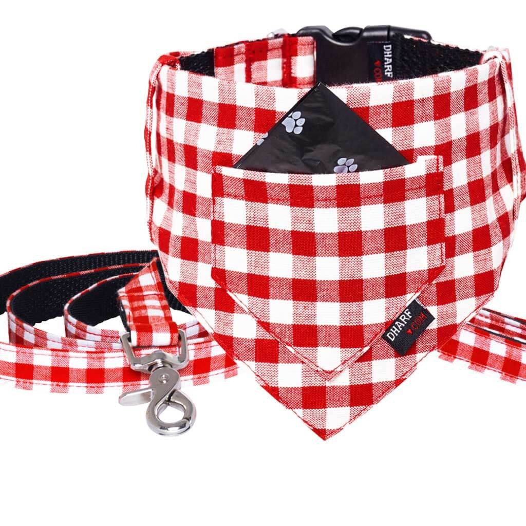 Dog Bandana, Collar and Leash Set - RED CHECKS - Dharf - 1
