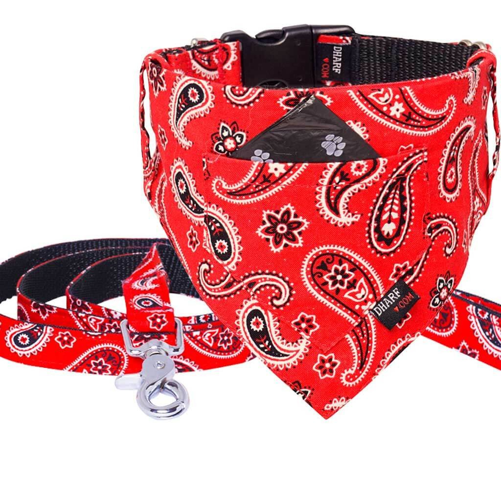 Dharf Dog Bandana, Collar and Leash Set in Red Paisley