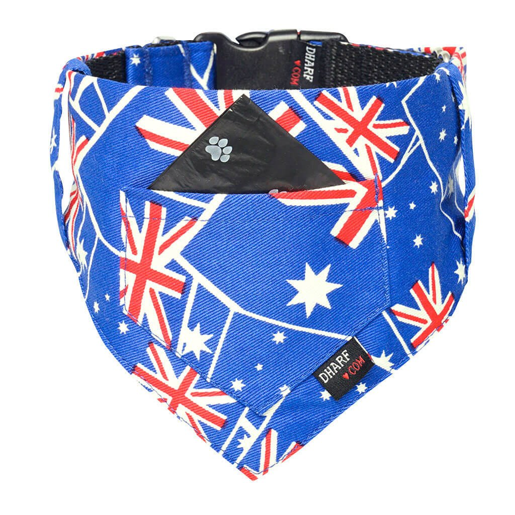 Dharf dog bandana and matching collar in Aussie flag pattern