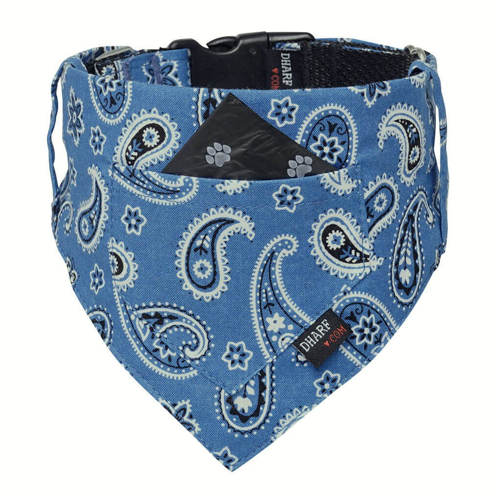Dharf Dog Bandana and Collar with Inbuilt Pocket in blue paisley print