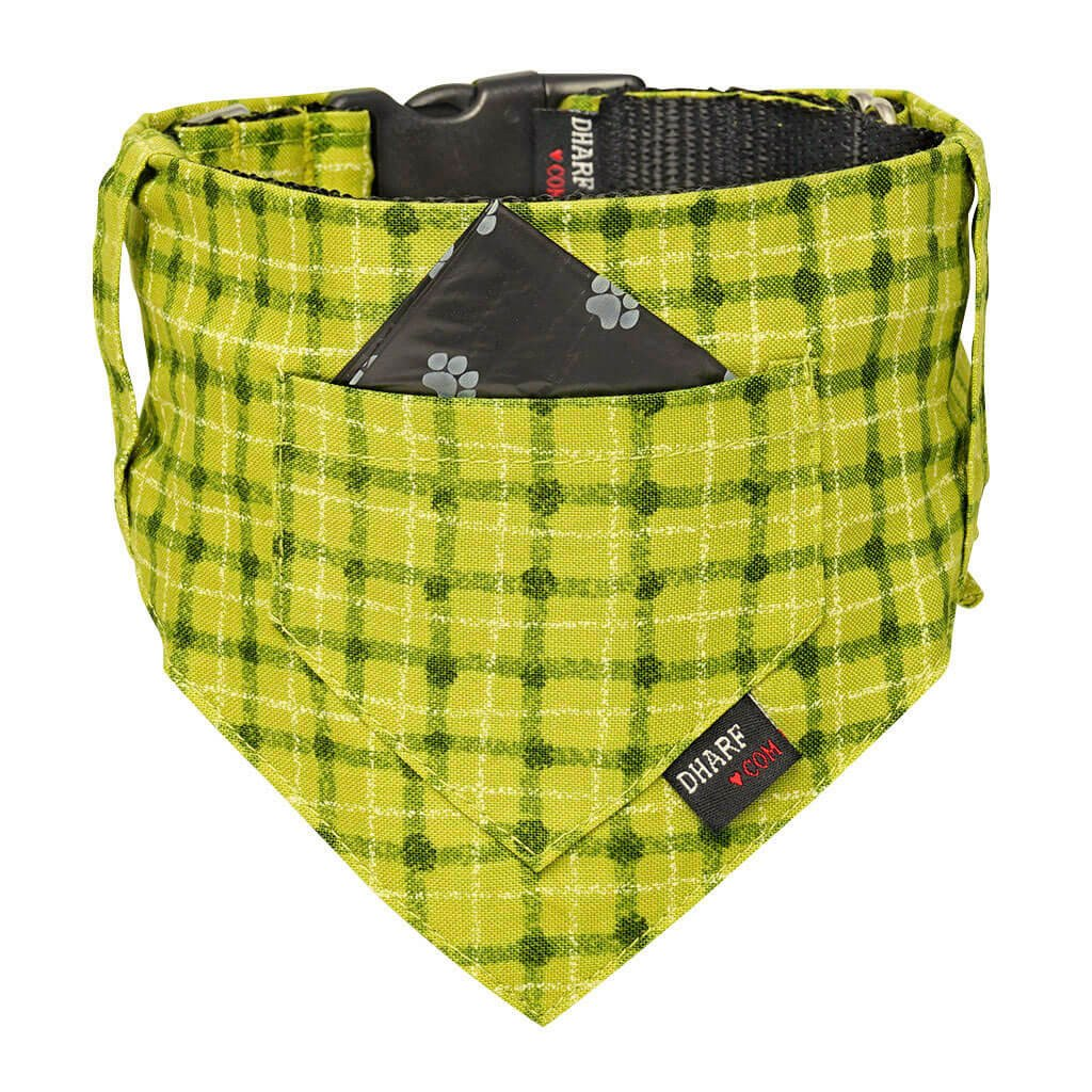 Dog Bandana, Collar and Leash Set - GREEN SQUARES - Dharf - 4