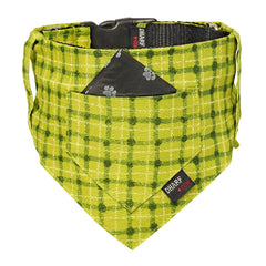 Dog Bandana and Collar - Pocket Front – GREEN SQUARES