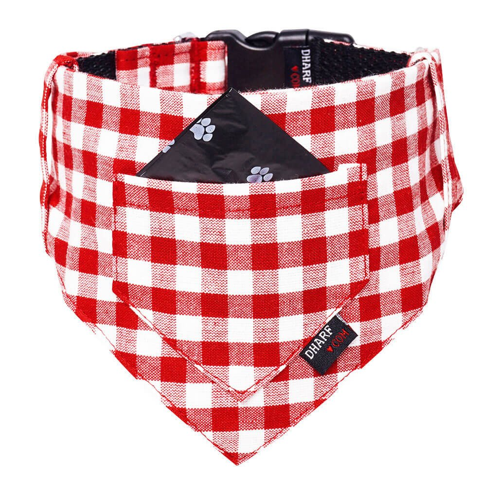 Dharf dog bandana and matching collar set in red and white checks