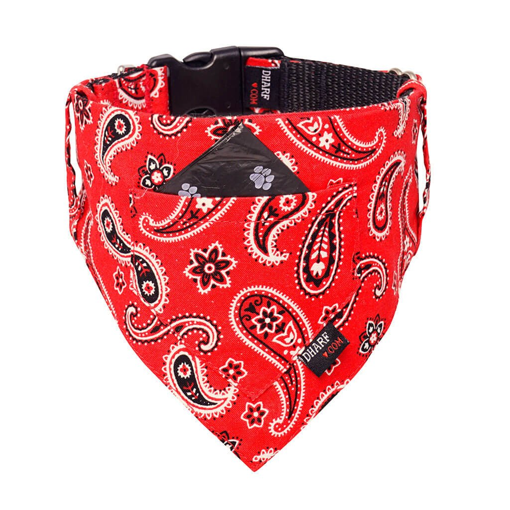 Dharf Dog Bandana with waste bag pocket in Red Paisley