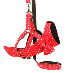 Dog Bow-tie Harness & Leash : Red Polka