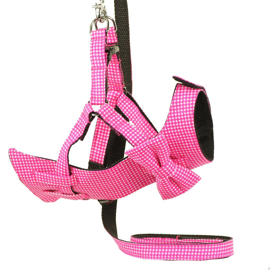 Dog Bow-tie Harness & Leash : Pink Gingham - Dharf - 1