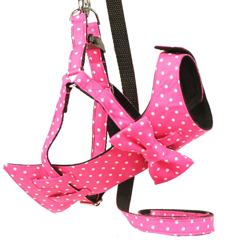 Dog Bow-tie Harness & Leash : Pink Polka - Dharf - 1