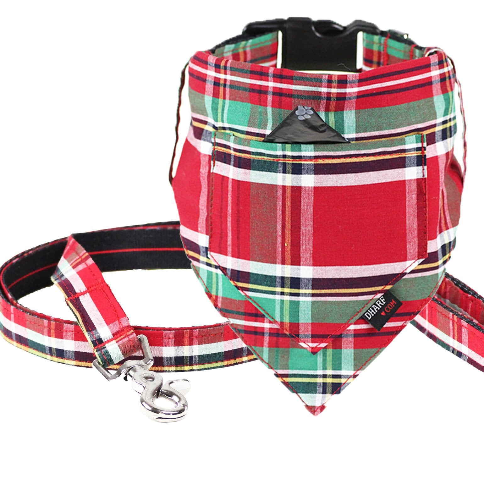 Dharf dog bandana, collar and leash set in red and green tartan