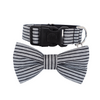Dog Bow Tie and Collar Set : Black Pin Stripe