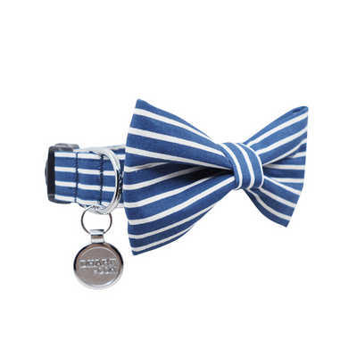 NEW Dog Bow Tie and Collar Set : Blue & White Stripes