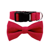 NEW Dog Bow Tie and Collar Set : Corduroy Flame Red