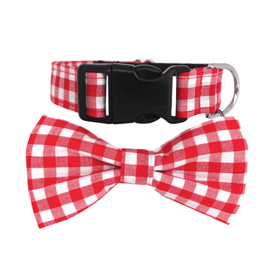 Dog Bow Tie Collar : Red  & White Checks