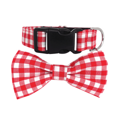 Dog Bow Tie Collar : Red Checks