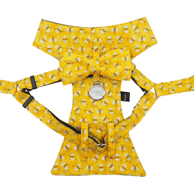 Dog Bow Tie Harness - Bumble Bee
