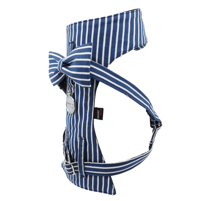 Dog Bow Tie Harness - Blue & White Stripes