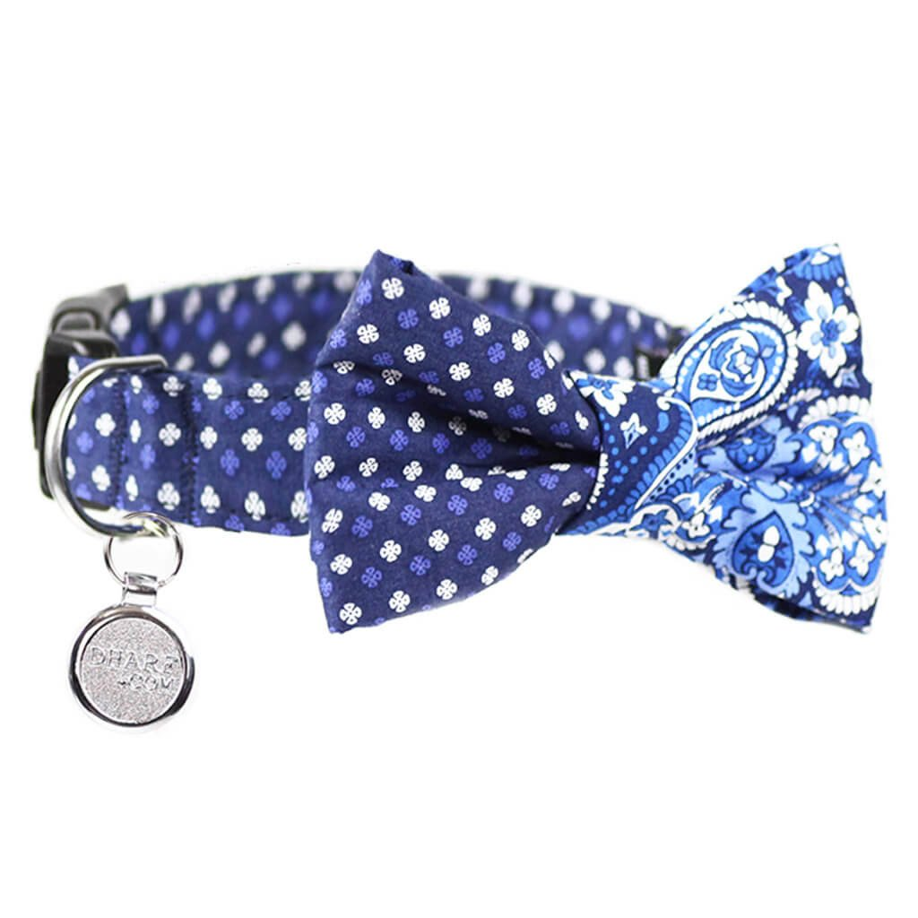 Dog Collar, Bow tie and Leash Set : Blue Mix and Match