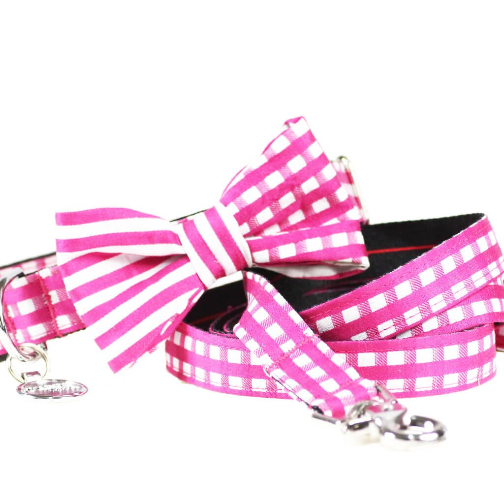 Dog Collar, Bow tie and Leash Set : Pink Mix and Match - Dharf - 1