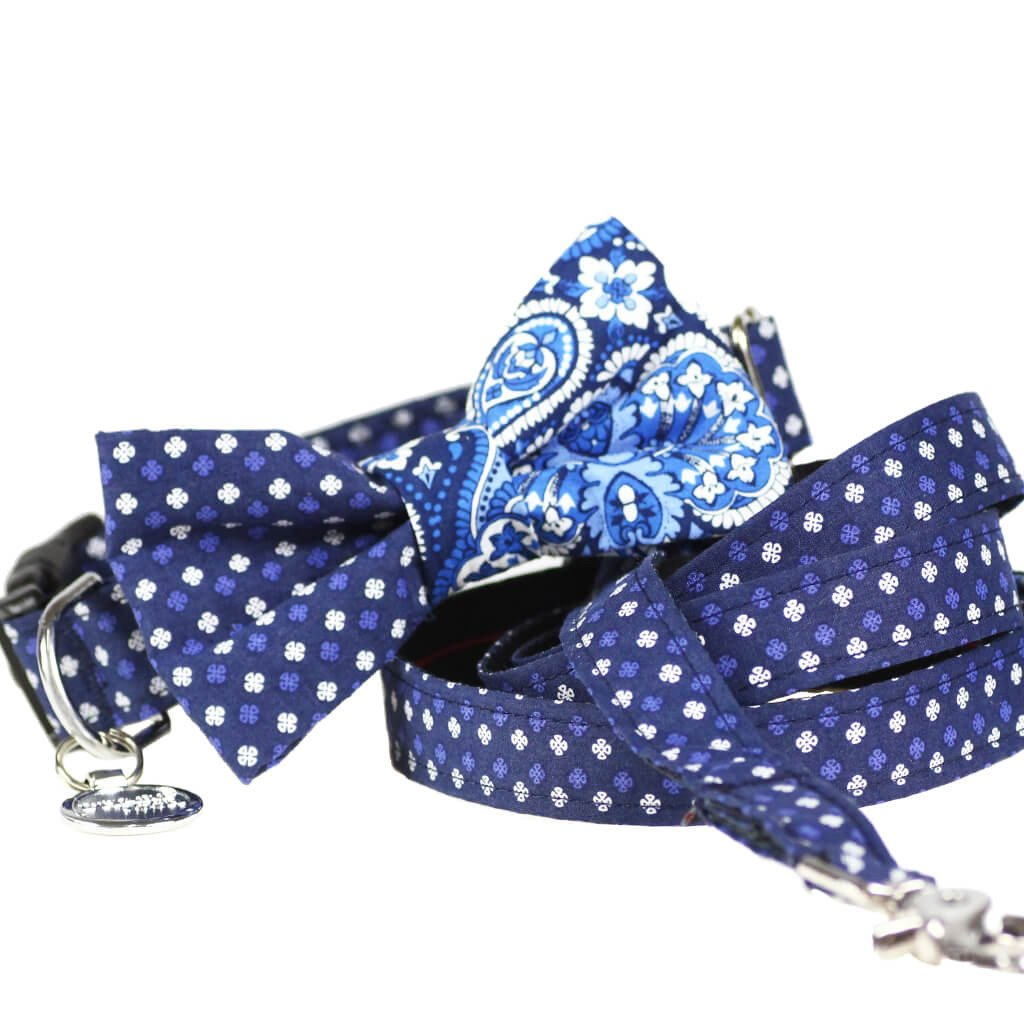 Dog Collar, Bow tie and Leash Set : Blue Mix and Match - Dharf - 1