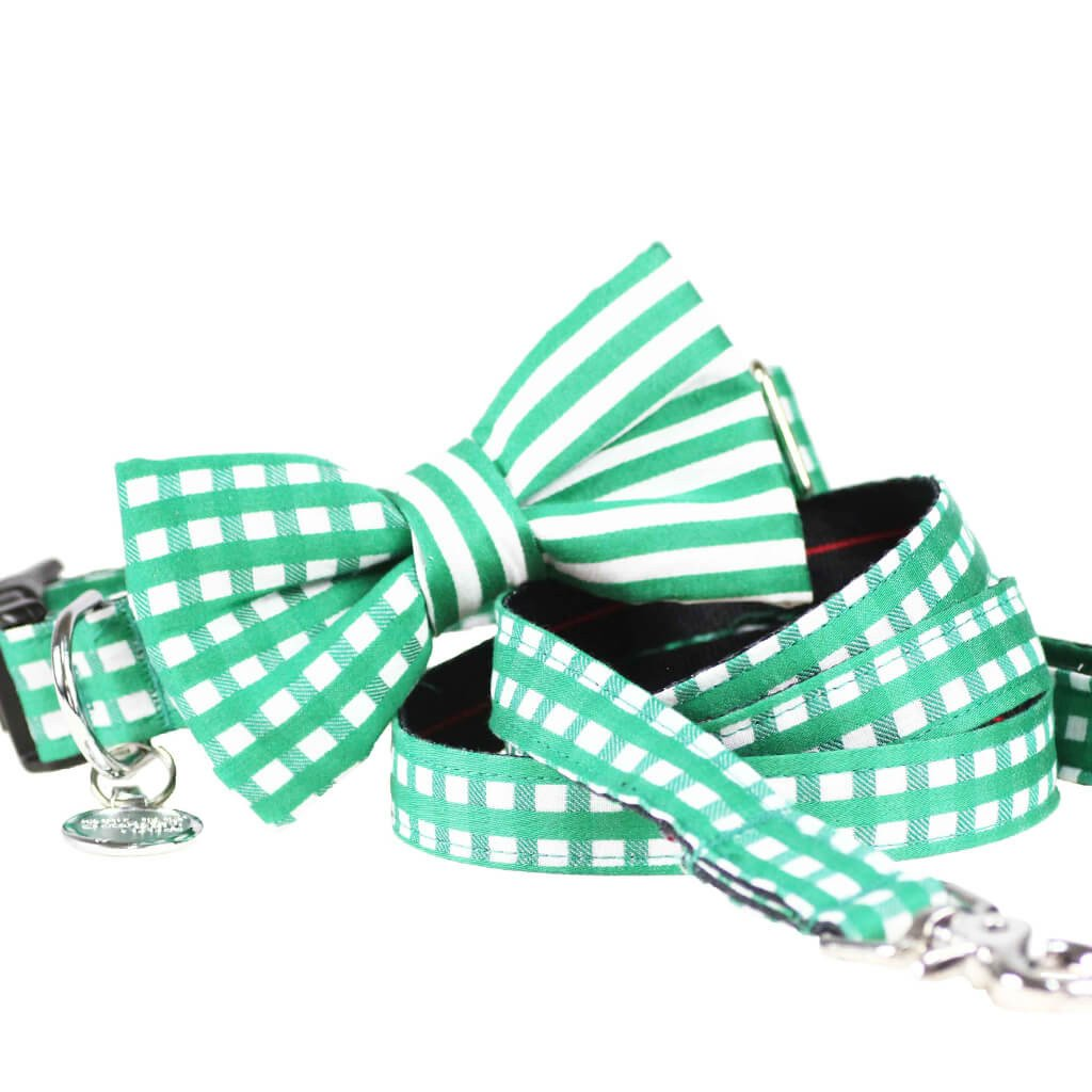 Dog Collar, Bow tie and Leash Set : Green Mix and Match - Dharf - 1