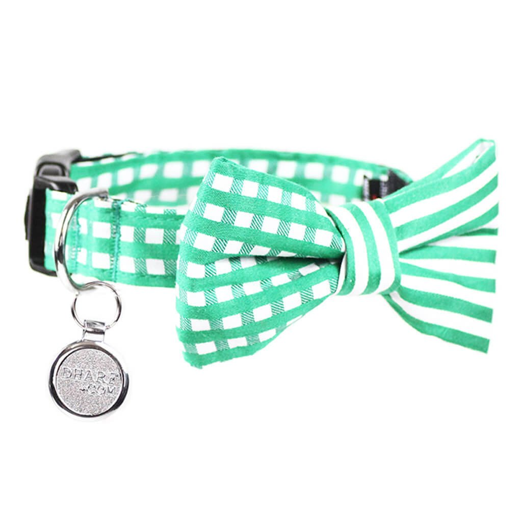 Dog Collar, Bow tie and Leash Set : Green Mix and Match - Dharf - 5