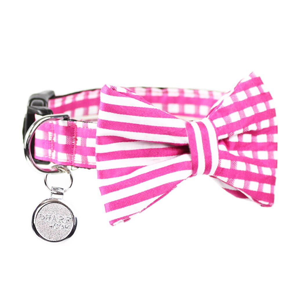Dog Bow Tie and Collar Set : Pink Mix and Match - Dharf - 1