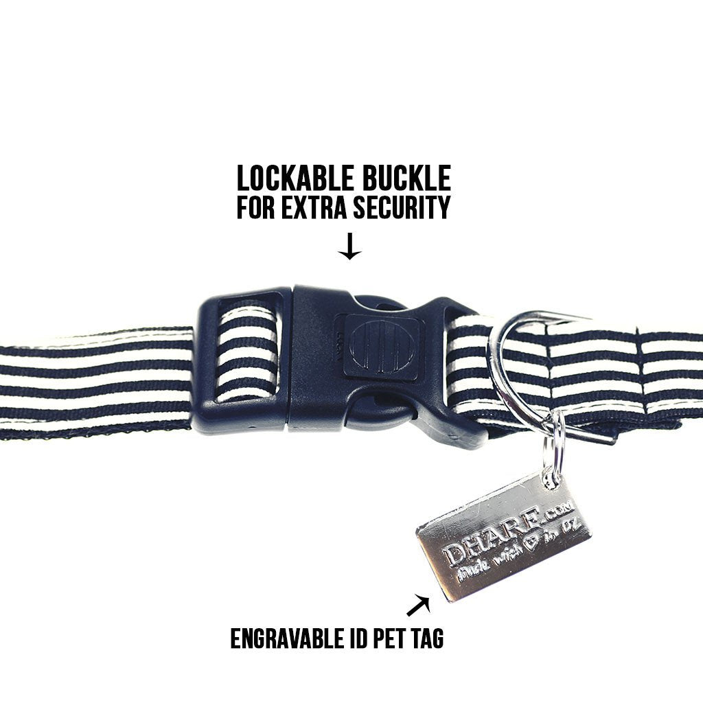 Dog Collar, Bow tie and Leash Set : B&W Striped