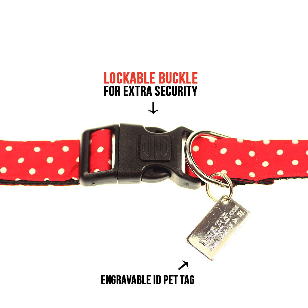 Dog Collar, Bow tie and Leash Set : Red Polka - Dharf - 6