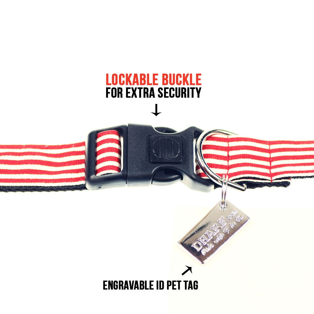 Dharf dog collar with lockable buckle in red and white stripes