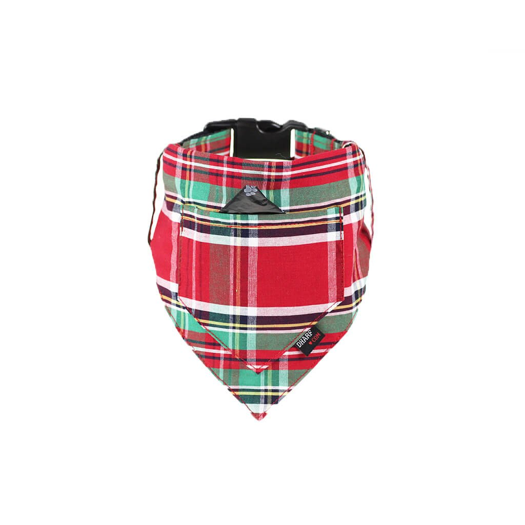 Dharf dog bandana and collar in red and green check