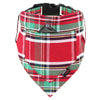 Dharf dog bandana and and matching collar in red and green tartan