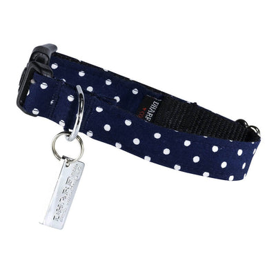 Dharf adjustable dog collar in navy with white polka dots