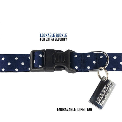 Dharf dog collar in blue polka with a lockable buckle