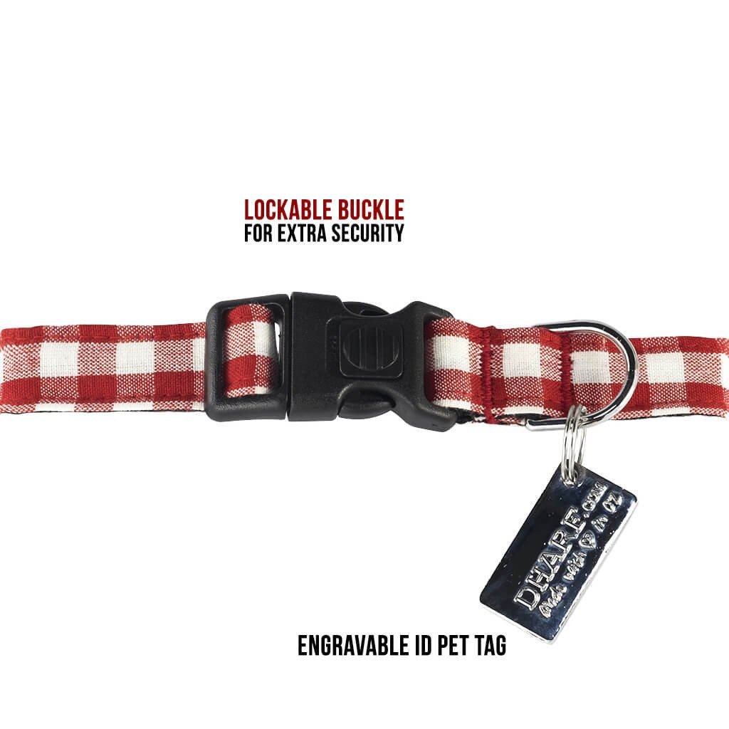 Dharf lockable dog collar in red and white checks