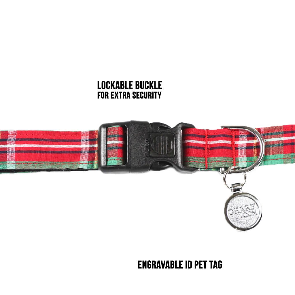 Dharf dog collar in red and green tartan with a lockable clasp