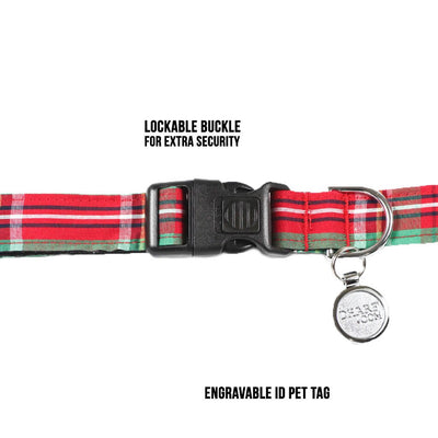 Dharf lockable dog collar in green and red tartan