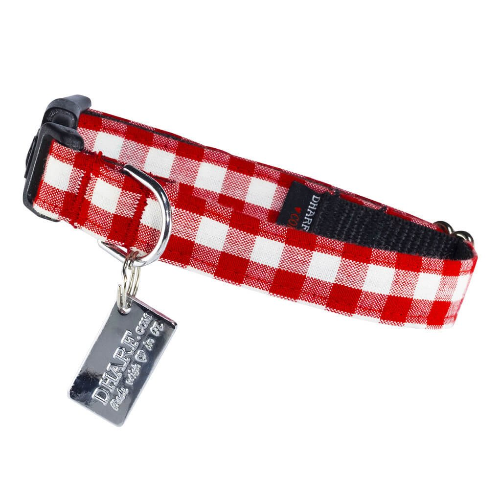 Dharf adjustable dog collar in red and white checks with ID tag