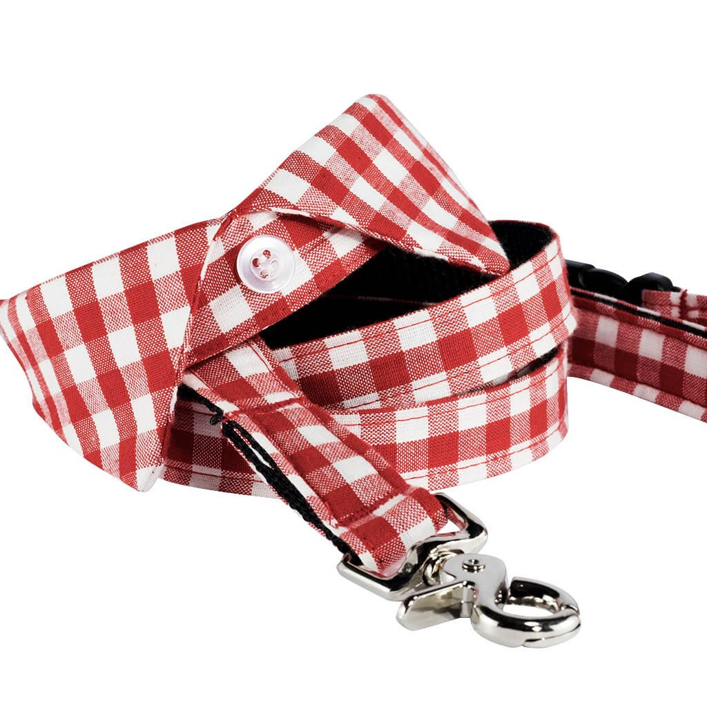 Smart Casual Dog Shirt Collar and Leash Set - Red Check - Dharf - 1