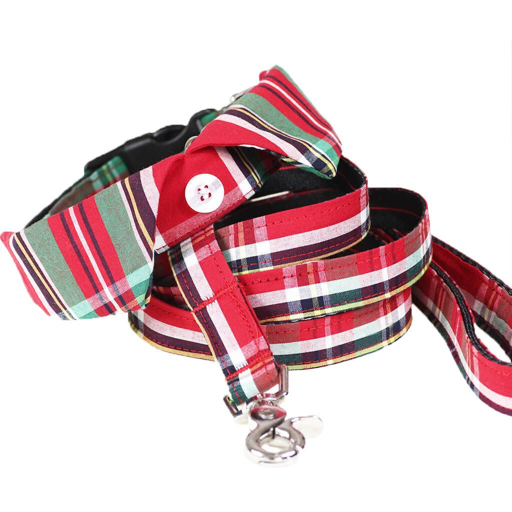 Smart Casual Dog Shirt Collar and Leash Set - Scottish Tartan - Dharf - 1
