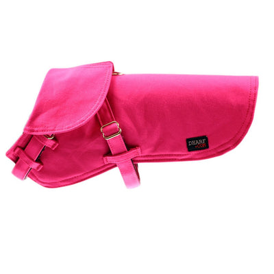Dharf adjustable fleece lined water repellent dog jacket in hot pink