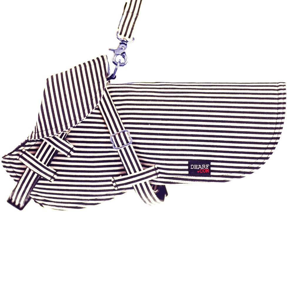 Dog Jacket and Lead Set : Black stripes - Dharf - 1
