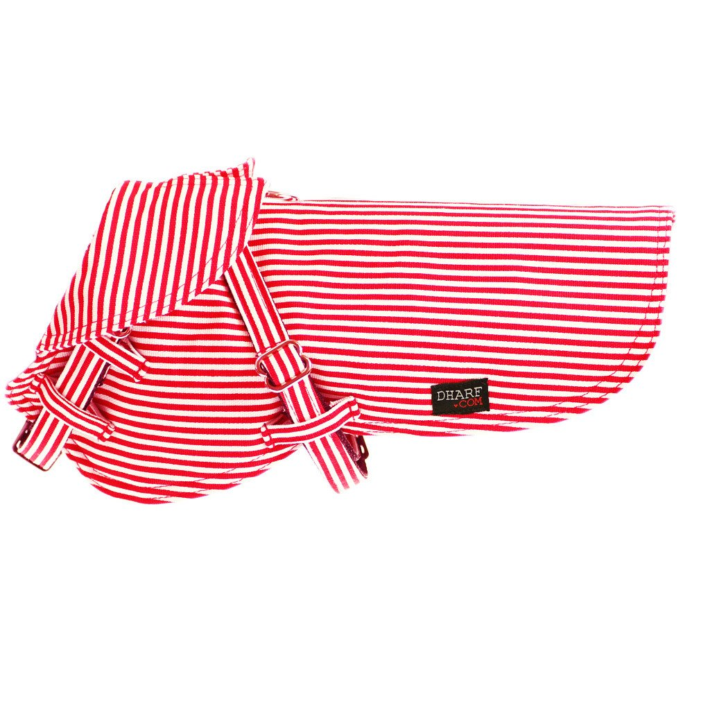 Dog Jacket : Red stripes - Dharf - 1