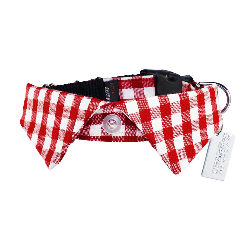 Smart Casual Dog Shirt Collar and Leash Set - Red Check - Dharf - 5