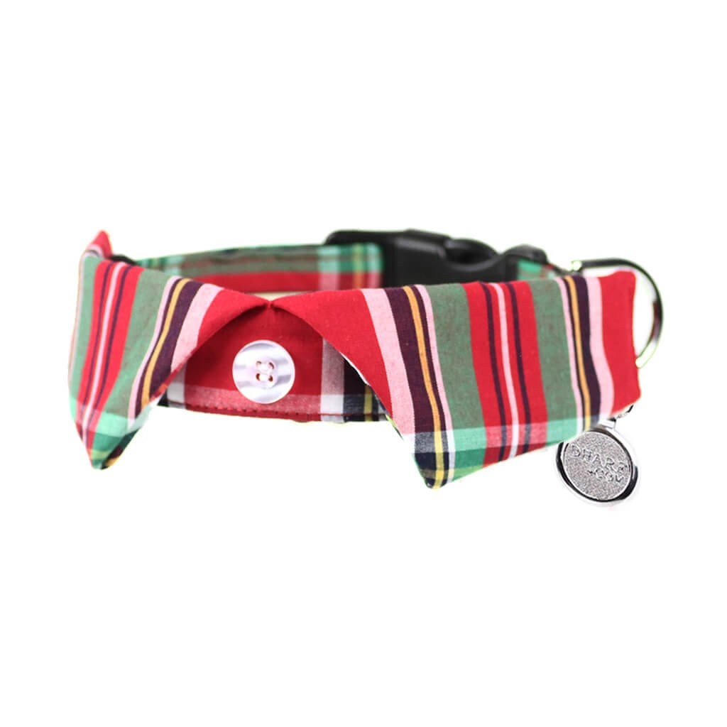 Dharf dog shirt collar in red and green tartan