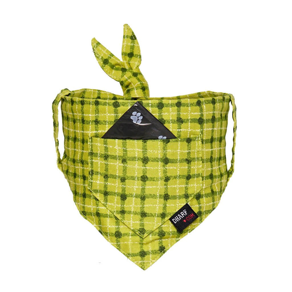 Dog Bandana - Pocket Front – GREEN SQUARES - Dharf - 1