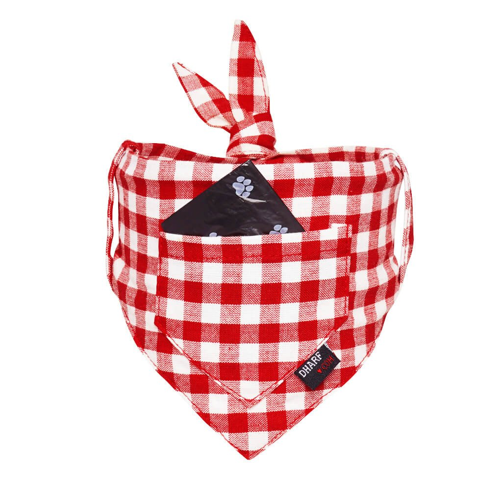 Dog Bandana - Pocket Front – RED CHECKS - Dharf - 1