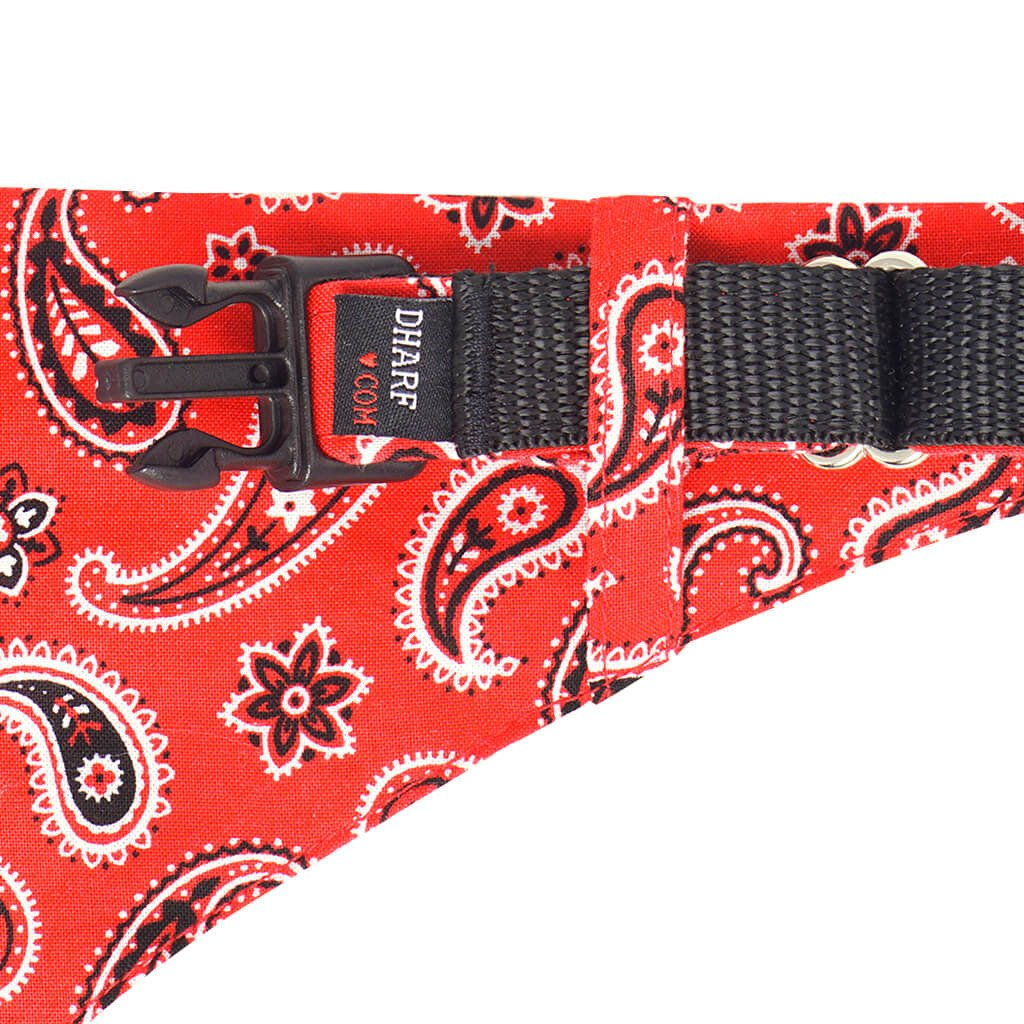 Dharf Dog removable Bandana and adjustable Collar in Red Paisley