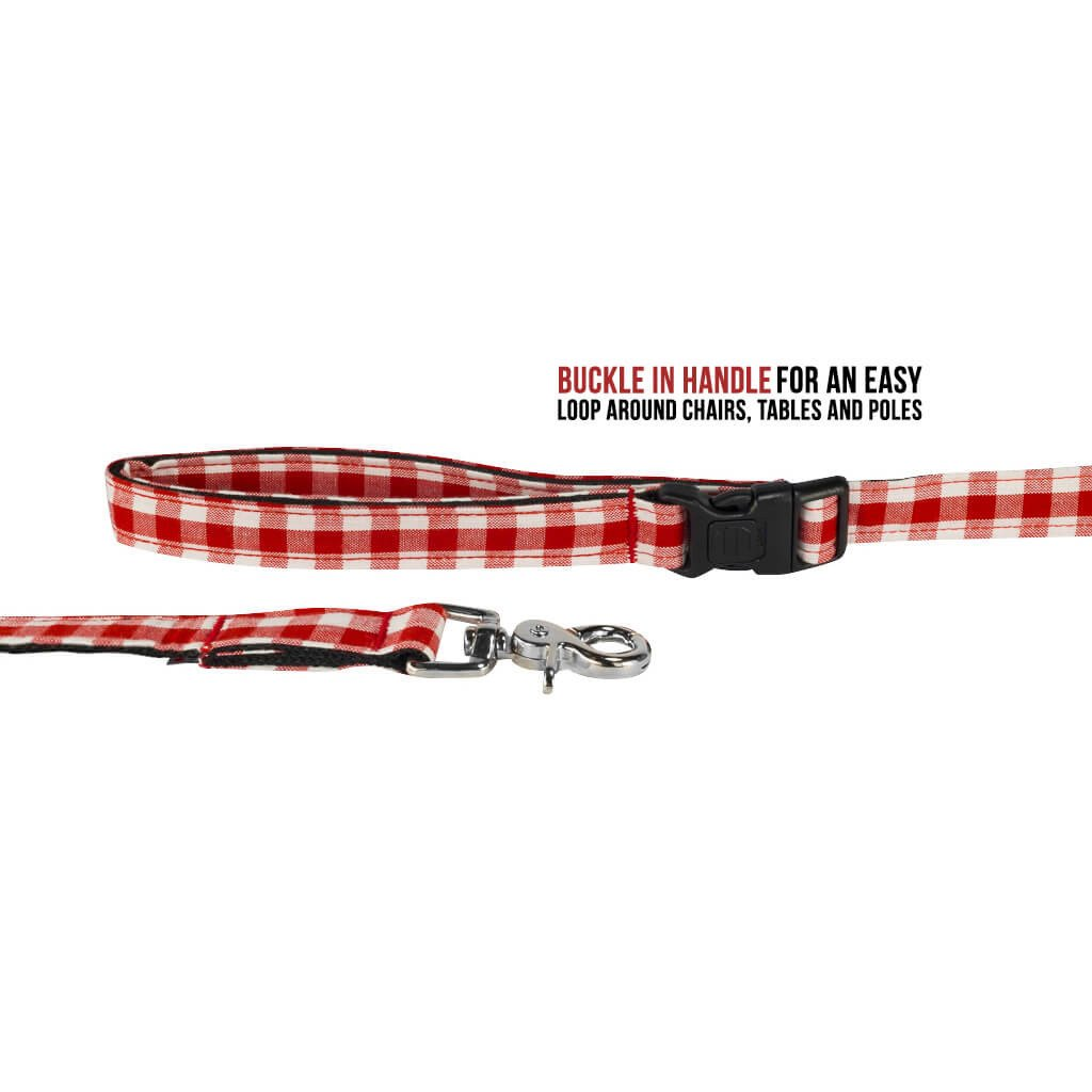 Smart Casual Designer Dog Leash  : Red Checks - Dharf - 2